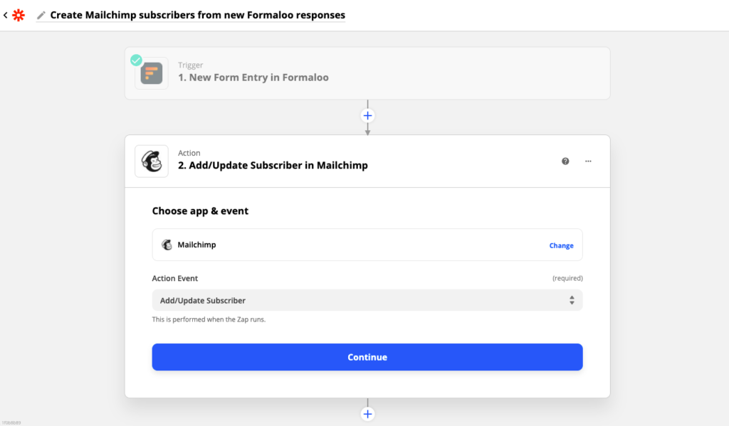 Connecting Formaloo to Mailchimp as an example for Formaloo integration with Zapier